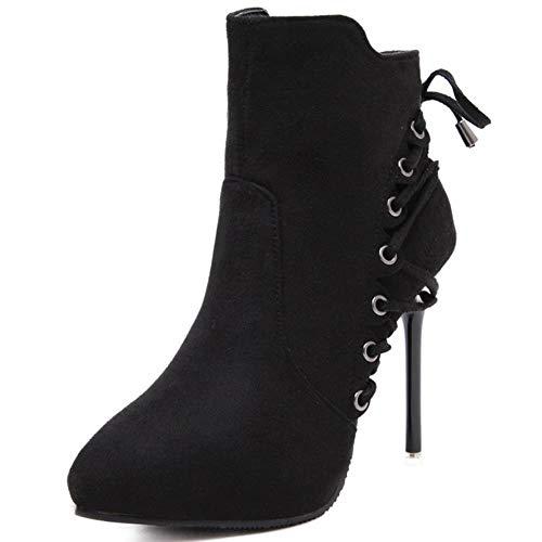 WTMLK Nuevos tacones finos sexys elegantes cordones de zapatos puntiagudos zapatos de invierno para mujer de oficina botas de mujer para mujer, negro, 8.5