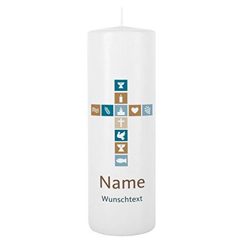 Striefchen® Kerze zur Taufe/Kommunion/Konfirmation mit Namen und Wunschtext für Jungen Blanche Weiß