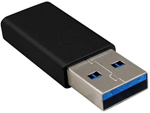 Adaptador USB C a USB, Adaptador USB C a USB 3.0 Adaptador USB 3.0 macho a USB C hembra Soporte de dos lados Velocidad USB3.0 Compatible con iPhone 11, Google Pixel, Samsung Galaxy, Huawei, etc. (Negr