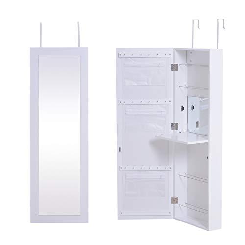 HOMCOM Espejo Joyero de Pared Armario para Joyas Guardajoyas Espejo Interior Montado en Pared Colgado en Puerta Madera 36x11.5x108.5cm Blanco