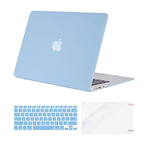 MOSISO Compatible with MacBook Air 13 inch Case (Models: A1369 & A1466, Older Version 2010-2017 Release), Protective Plastic Hard Shell Case & Keyboard Cover & Screen Protector, Airy Blue