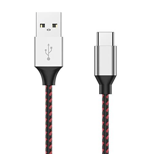 Cable PS5, CiSiRUN Cable de Carga Para Mando PS5 Controller/Playstation 5/Sony PS5 DualSense/Xbox Series X/Series S,Samsung A42 5G A52 A72,Trenzado de Nylon Cargador USB Tipo C 3M(Rojo)