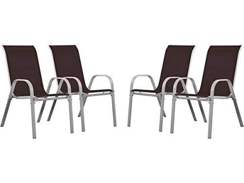 Juego de 4 sillas jardín Textileno Cordoba - Phoenix - Taupe
