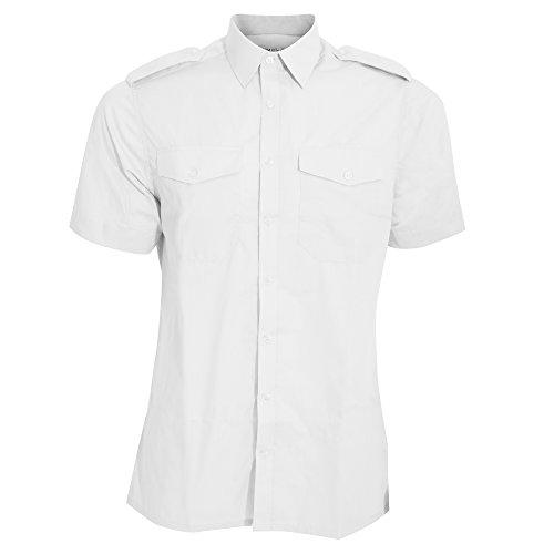Kuston Kit - Camisa de piloto de Manga Corta Modelo Pilot Hombre Caballero (Cuello 41cm) (Blanco)