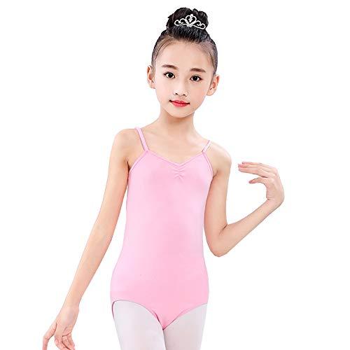 iMixCity Maillots de Danza Ballet Gimnasia Leotardo Clásico Elástico de Ballet Algodón Infantil para Niños 3-14 Años (A#Rosado, 140 (para Altura: 125-135cm))