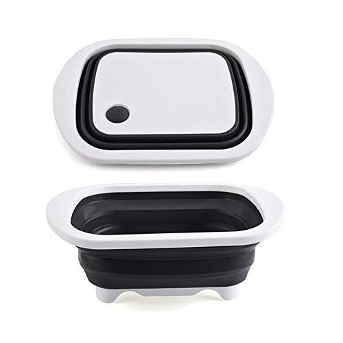 Tabla de cortar de múltiples funciones portable, limpieza plegable al aire libre Tazón de picnic Barbacoa plegable del fregadero de drenaje de la cesta, para la cesta del almacenaje de cocina vegetal