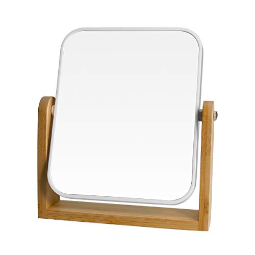 """1x/3x Magnification Vanity Makeup Mirror for Desk with Bamboo Stand,Double Sided 360°Rotation Magnifying Mirror,Portable Table Tabletop Mirror for Make Up,8"""" Small Standing Mirror for Desk(Square)"""