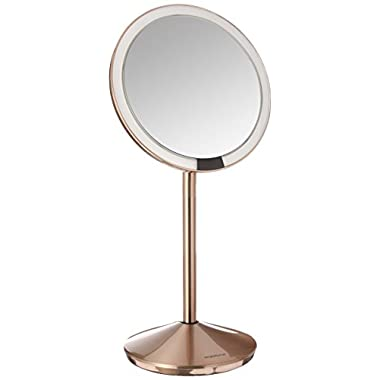 simplehuman 5 inch Sensor Mirror, Lighted Makeup Mirror, 10x Magnification, Stainless Steel (Rose Gold)