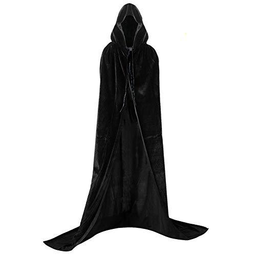 Larga Capa de Vampiro Diablo de Terciopelo con Capucha para Disfraz de Fiesta Halloween y Carnaval,Talla Unica,para Adulto Mujeres Hombres (Negra)
