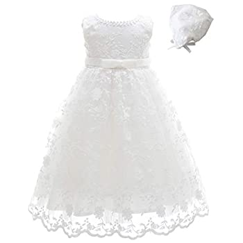 Meiqiduo Baby Girls Lace Christening Baptism Gowns Dresses with Bonnet  12M/12-15Months Ivory