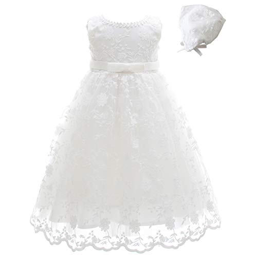 Meiqiduo Baby Girls Lace Christening Baptism Gowns Dresses with Bonnet (24M/20-24Months, Ivory)