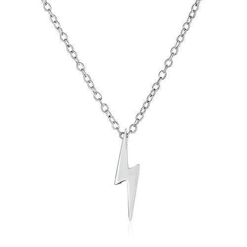 Delicado minimalista geométrico Zig Zag Flash Lightning Bolt colgante collar para mujeres para adolescentes 925 plata de ley