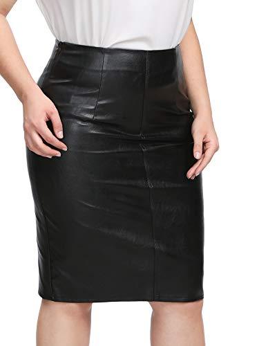 SheIn Women's Plus Size PU Faux Leather Skinny Bodycon Pencil Skirt Black