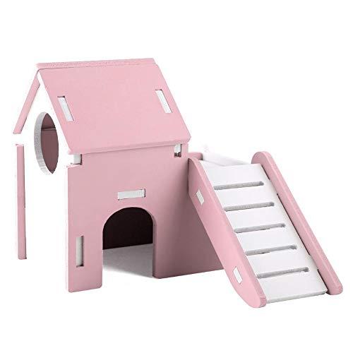 TOPINCN Hamster House Maison de Couchage Double Couche écologique Lavable en Bois Mignonne Lavable avec Toboggan de Jeu(Rose)