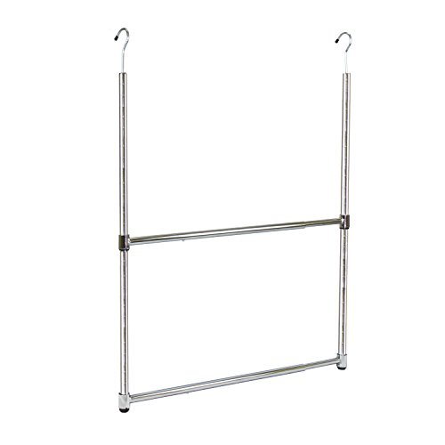 Oceanstar 2-Tier Portable Adjustable Rod Closet Hanger, Chrome