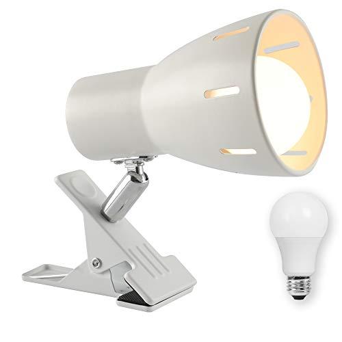 共同照明 クリップライト デスクライト ホワイト LED電球50W形付き 電球色 電気スタンド GT-SETTD-WHITE-7WW 屋内用 スイッチ付き おしゃれ コンセント式 インテリア照明 作業ライト 読書 仕事 寝室照明 リビング