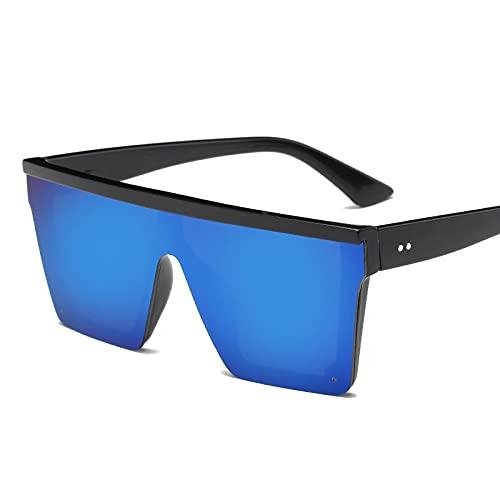 NJJX Gafas De Sol De Gran Tamaño Para Hombre, Con Parte Superior Plana, Para Hombre, Con Sombras Cuadradas Negras, Gradiente, Gafas De Sol C3Blue