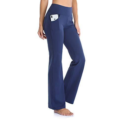 GIMDUMASA Pantalón de Yoga Mujer Pierna Ancha Salón Bootcut Leggings Alta Cintura Pantalones De Entrenamiento con Bolsillos para Pilates Fitness Yoga GI604 (Azul Profundo, XXL)