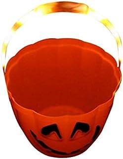 Light Up Trick or Treat Halloween Pumpkin Bucket w/ 3 Flashing Settings Orange