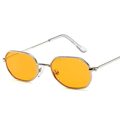 DLSM Gafas de Sol Oval Metal Mujeres Classic Vintage Vidrios para Mujeres Rosa Espejo Retro Eyewear Adecuado para Gafas de Golf Gafas de Sol-Naranja Plateado
