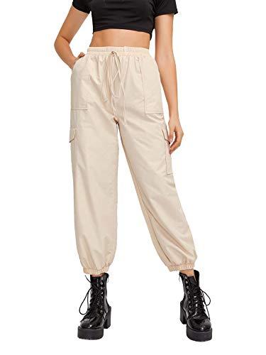 SweatyRocks Women's Casual Drawstring Waist Jogger Workout Cargo Pants with Pockets Beige-1 L