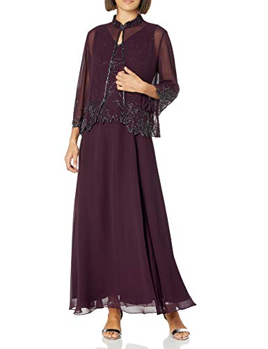 Cdress Women's Chiffon Mother of The Bride Dress with Jacket Plus Size 20W Burgundy