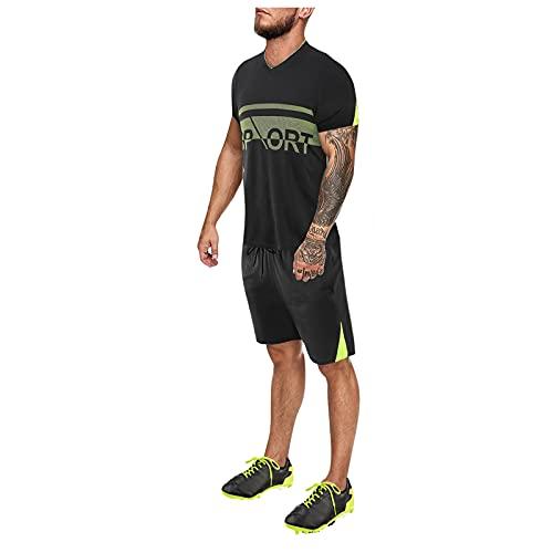 Beudylihy Conjunto de entrenamiento de fútbol para hombre, ropa de moda, ropa deportiva para hombre, chándal, chándal, sudadera y sudadera de 2 piezas negro A XL