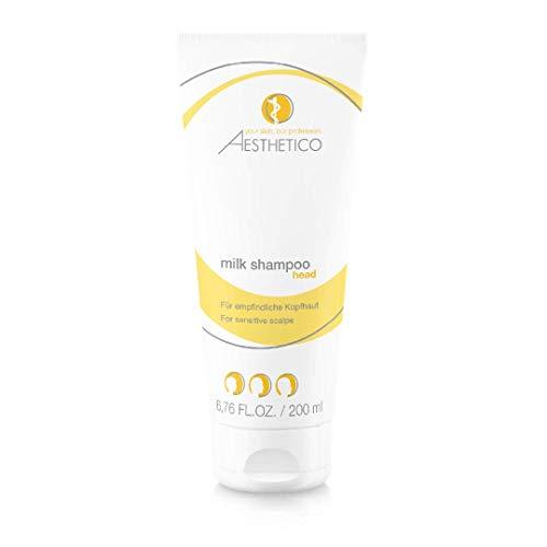 AESTHETICO milk shampoo - Pflegeschampoo gegen Reizungen, für empfindliche Kopfhaut, mit Milchessenzen, bringt gereizte Kopfhaut in Balance, 200 ml
