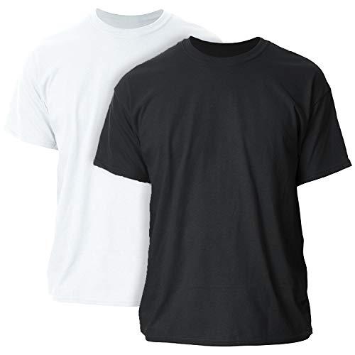 Gildan mens Ultra Cotton Adult Pack fashion t shirts, White/Black, Medium US