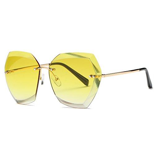 kimorn Sonnenbrillen für Frauen Übergroße randlose Diamant-Schneidlinse Klassisch Eyewear AE0534 (Gold&Gelb, 65)