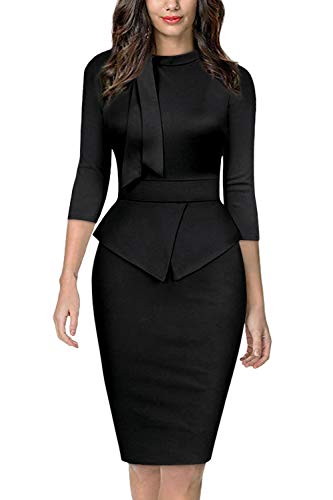 Moyabo Women Dress for Women Elegant Tie Collar 3/4 Sleeve Formal Office Work Pencil Dress Black Large