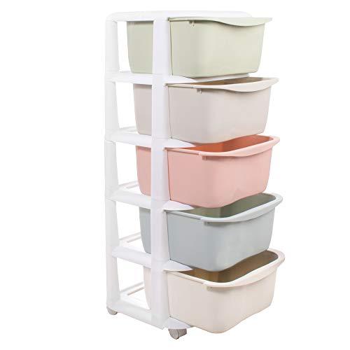 SPRINGOS Kinderregal|Pastell|100x37x37 cm|Kinderzimmer|Rollwagen|Badezimmer|Mobilregal|Aufbewahrungsboxen|Kunststoffregal|Container (Pastell, 100x37x37 cm)