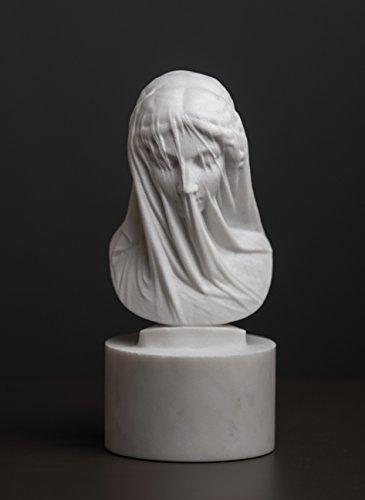 Busto de mármol de la Virgen María encubierta por Strazza tallada estatua escultura de artista
