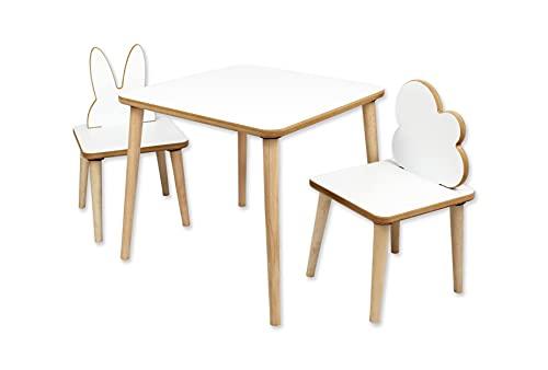 DC21 Kindersitzgruppe aus Echtholz, Tisch und 2 Stühle, für Kinderaktivitäten Malen Basteln Spielen Essen Kindertisch Kinderstuhl Tischset Kindermöbel Kindersitzgarnitur