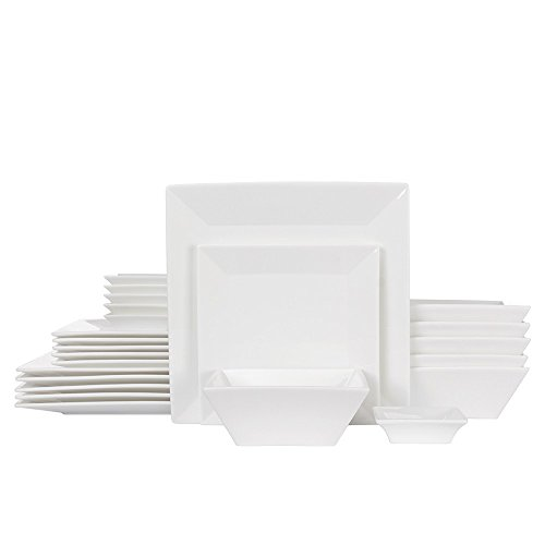Porlien 24-Piece Classic Square Dinnerware Set for 6, White