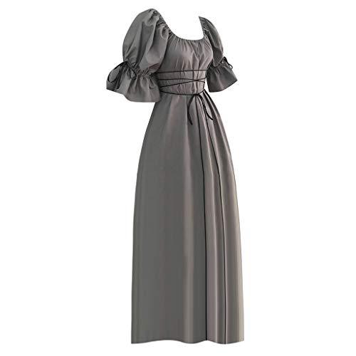 HEVÜY Damen Langarm Mittelalter Kleid Gothic Viktorianischen Königin Kostüm V-Ausschnitt Prinzessin Renaissance Kleider