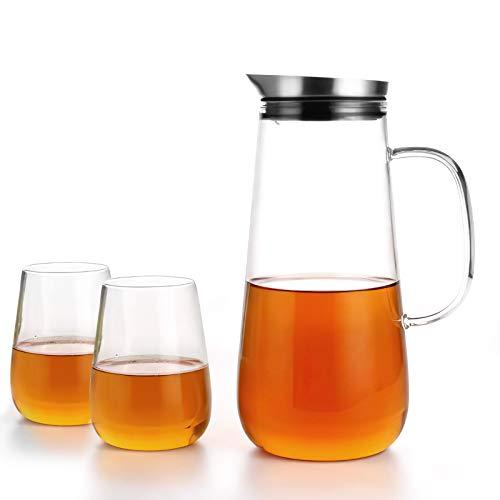 Homfa 1,5 L Glaskaraffe für Kaltes/Warmes Wasserkrug Set mit 2 gläsern Wasserkaraffe mit Deckel und Glas Griff Glaskrug für Wein Saft Milch Kaffee