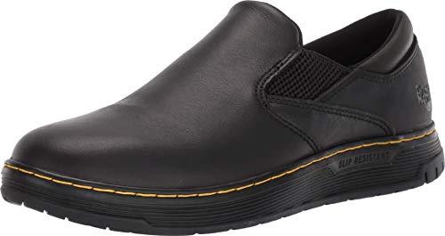 Dr. Martens Brockley SR Food Service Shoe, Black Newark & Black Rubbery & Black Soft Pu