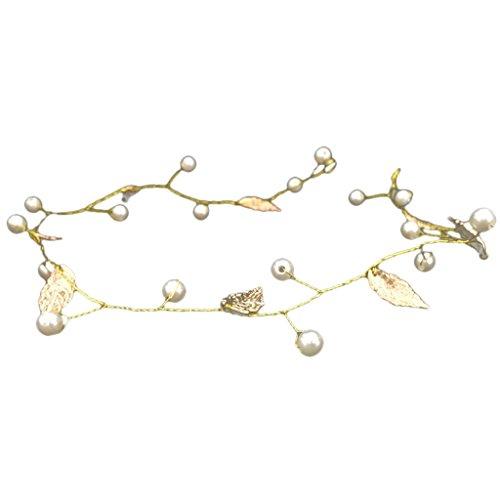 Bandeau Guirlande des Femmes Perle Feuilles Hairband Headpiece Or