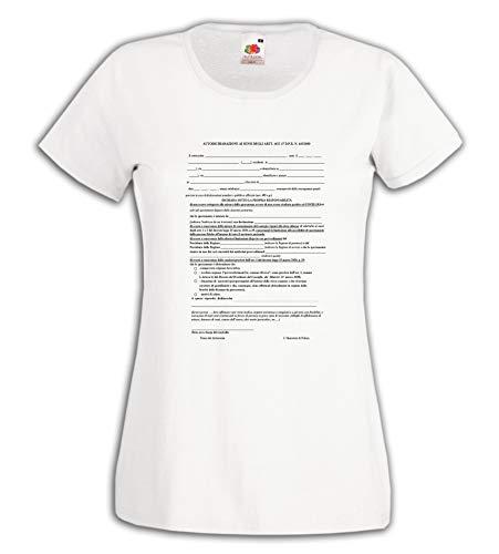 Settantallora - T-Shirt Maglietta Donna JCOV_03 Modulo Autocertificazione Covid-19 Taglia M