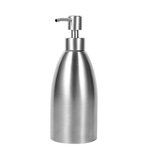 Dispensador de jabón de mesa de acero inoxidable de 16 oz, bomba de jabón líquido antioxidante y a prueba de fugas para fregaderos de cocina y encimeras, dispensador de loción de champú para encimeras de baño