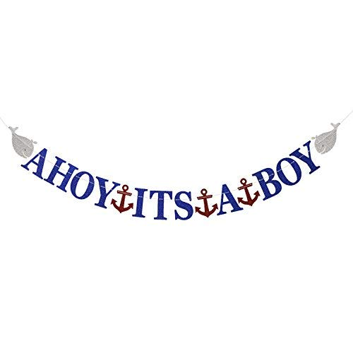 Ahoy Its A Boy Nautical Theme Baby Shower Glittery Banner for Baby Boy Party Decorations (NO-DIY)