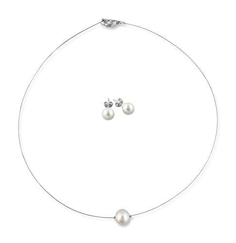 Rivelle Damen Brautschmuck Set creme Schmuckset Perlen Halskette Collier Ohrringe Schmuck Hochzeit Geschenkbox