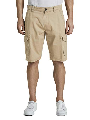 TOM TAILOR Herren Hosen & Chino Morris Relaxed Bermuda Cargo-Shorts Chinchilla,36