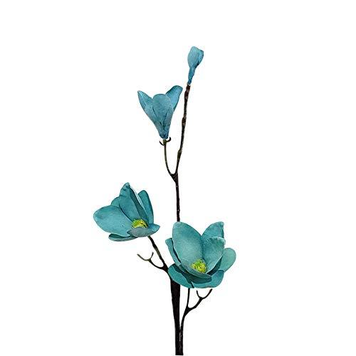 NAttnJf 1 Unid Seda Artificial Flower Yulan Magnolia Flor Banquete de Boda Mesa en Casa Oficina Hotel Decoración Floral Blue
