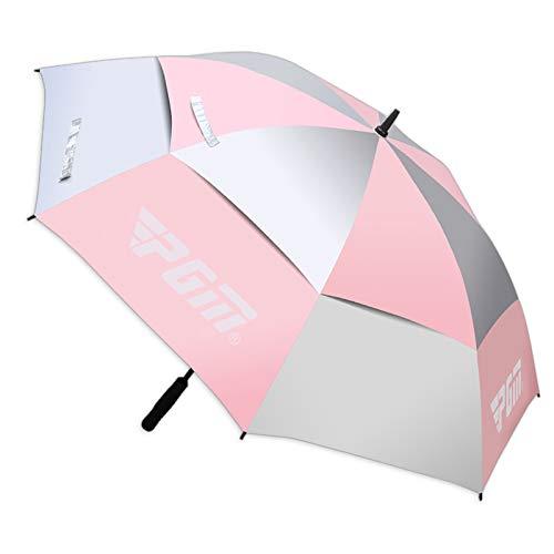 PGM Golfschirm Automatik 134cm Regen UV Schutz Double Layer (Pink)