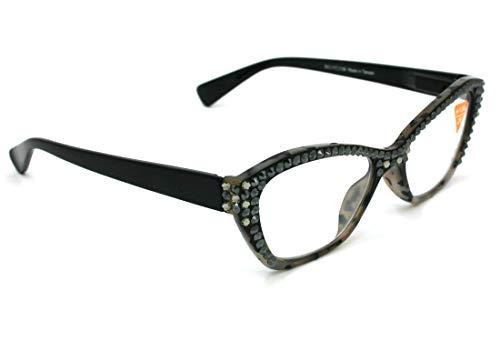 Jane, Women Reading Glasses Bling w Hematite n Black Diamond Swarovski Crystals +1.50, 2.00, 2.50, 3.00 Black Tortoise, Full Top, Retro Cat eyes. NY Fifth Avenue.