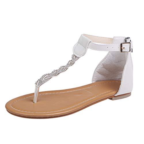 Dames Zomer Kristal Vlakke Flip Flops - Dames Strand PU Outdoor Ronde Teen Sandalen Casual Eenvoudige Romeinse Gesp Schoenen
