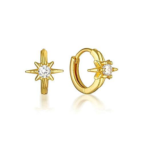 Pendientes Mujer Pendientes De Aro De Plata De Ley 925 para Mujer, Pendientes De Aro Pequeños De Cristal De Circonita Geométrica Simple, Joyería De Moda, Oro