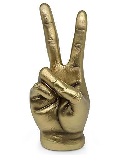 FeinKnick goldenes Victory Zeichen zur Dekoration - Moderne Skulptur in Gold - goldene Hand aus Marmoritharz 20cm für Schreibtisch Wohnzimmer & Büro - Design Deko Finger vergoldet als Peace Symbol